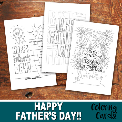 FATHER'S DAY Color-In Cards - Happy Father's Day - PDF file - Instant Download
