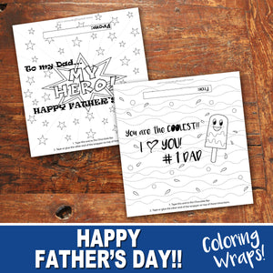 FATHER'S DAY CHOCOLATE WRAPPER - Color-In Cards - Happy Father's Day - PDF file - Instant Download
