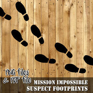 MISSION IMPOSSIBLE - FOOTPRINTS - Theme Party - PDF and PNG files - Digital file -Instant Download-