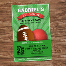FOOTBALL AND DODGEBALL - Birthday Invitation - Football party – Digital file