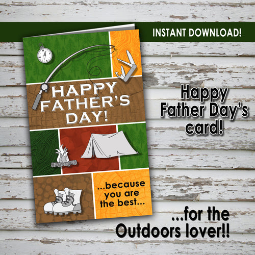 FATHER'S DAY Card - For the OUTDOORS LOVER - PDF file - Digital file - Instant Download