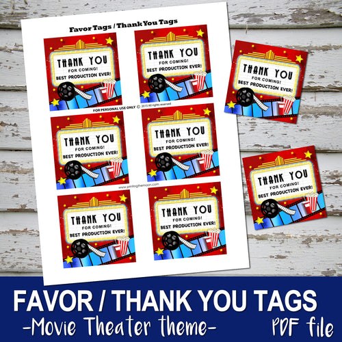 MOVIE THEATER - Birthday FAVOR TAG / THANK YOU CARD - Movies Cinema party – Digital file