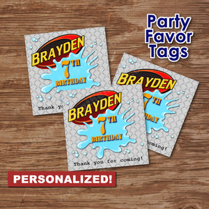 "WATER GUN WARS - ""PERSONALIZED"" Favor Tags - Birthday party, Digital"