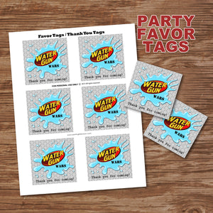 WATER GUN WARS - Favor Tags - Birthday party, Digital -Instant Download-