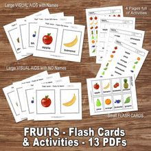 FRUITS WORKSHEET ACTIVITIES– Flashcards, Activities, Visual Aids, Digital file - Instant Download-