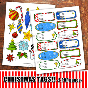 CHRISTMAS GIFT TAGS - PDF - Digital file -Instant Download-