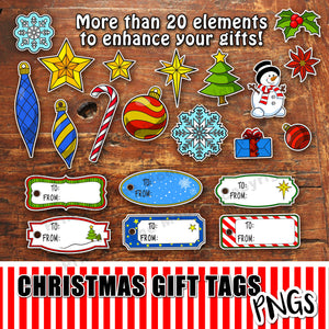 CHRISTMAS GIFT TAGS - PNG - Clip ART - Digital file -Instant Download-