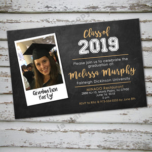 GRADUATION INVITATION CARD - Announcement - Digital file - Print it Yourself