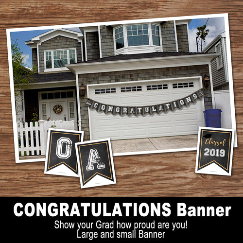 GRADUATION CONGRATULATIONS BANNER – Digital file, Chalk - Instant Download-Printable