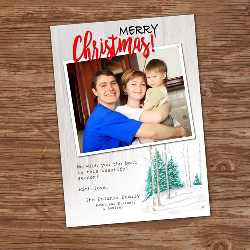MERRY CHRISTMAS PERSONALIZED CARD- WATERCOLOR WINTER - Printed Christmas Cards
