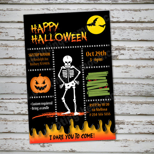 HALLOWEEN - Party Invitation -Halloween Skeleton party Invitation – Digital file