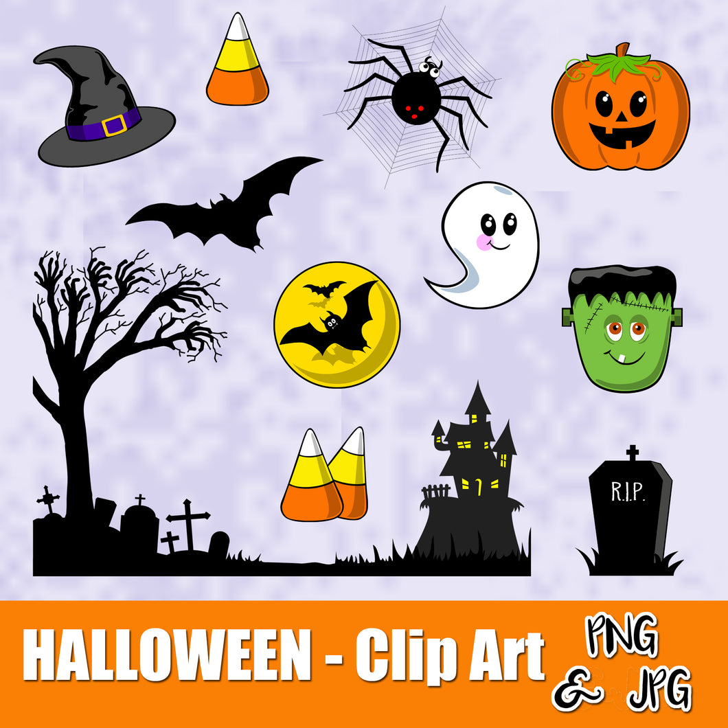 HALLOWEEN FUN - CLIP ART- Halloween characters - PNG and JPG files -Instant Download-