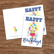 WATERCOLOR GIRL WITH CAKE - HAPPY BIRTHDAY Cards