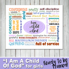 """I AM A CHILD OF GOD"" poster - Religious, Young Woman, Activity Girls -Digital file - Instant Download-"