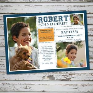 LDS BAPTISM INVITATION - BLOCK Style -Religious Event– Digital file
