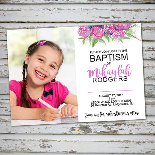 LDS BAPTISM INVITATION - FLOWERS Style -Religious Event– Digital file