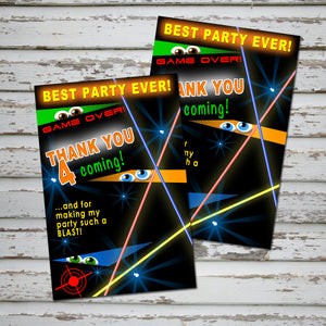 LASER TAG - Thank you Card - Laser Tag party – Digital file