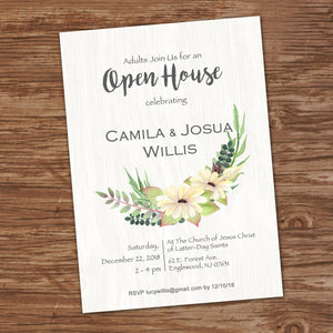 WEDDING INVITATION - WATERCOLOR FLOWERS - Digital File-