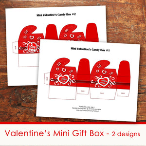 VALENTINE'S DAY Small Chocolate Boxes - PDF file - Instant Download