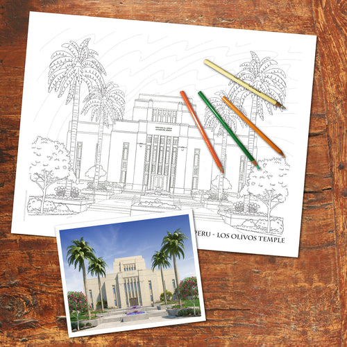 LDS LOS OLIVOS, LIMA PERU TEMPLE - FREE Coloring Page - Digital download