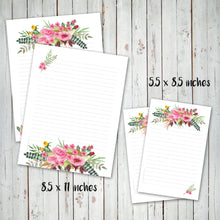 PRINTABLE LETTER WRITING SHEETS - Pink Flower Bouquet - Personal letter writing -Instant Download