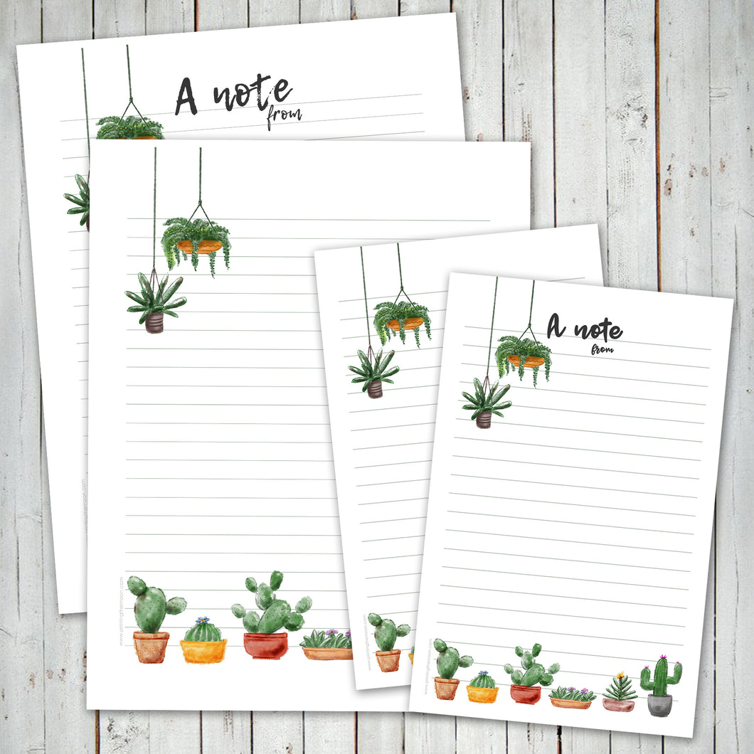PRINTABLE LETTER WRITING SHEETS - Cactus & Succulents - Personal letter writing -Instant Download