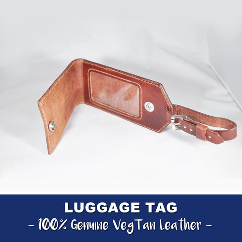 LUGGAGE TAG  - VEGTAN LEATHER - Handmade in USA - 100% Leather
