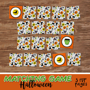 HALLOWEEN - MATCHING/MEMORY GAME – 3 PDFs - Digital file -Instant Download-
