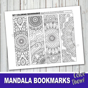 MANDALA BOOKMARKS Color-In Bookmarks - Happy Everyday's Day - PDF file - Instant Download