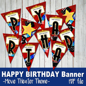 MOVIE THEATER - Birthday BANNER - Movies Cinema party – Digital file