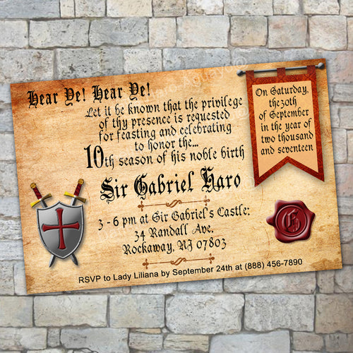 MEDIEVAL BIRTHDAY INVITATION - Medieval party – Digital file