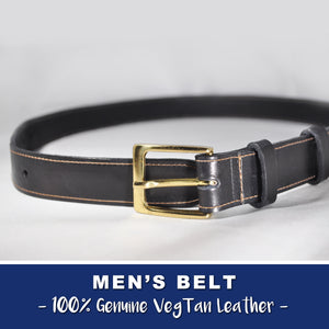 MEN'S LEATHER BELT  - VEGTAN LEATHER - Handmade in USA - 100% Leather