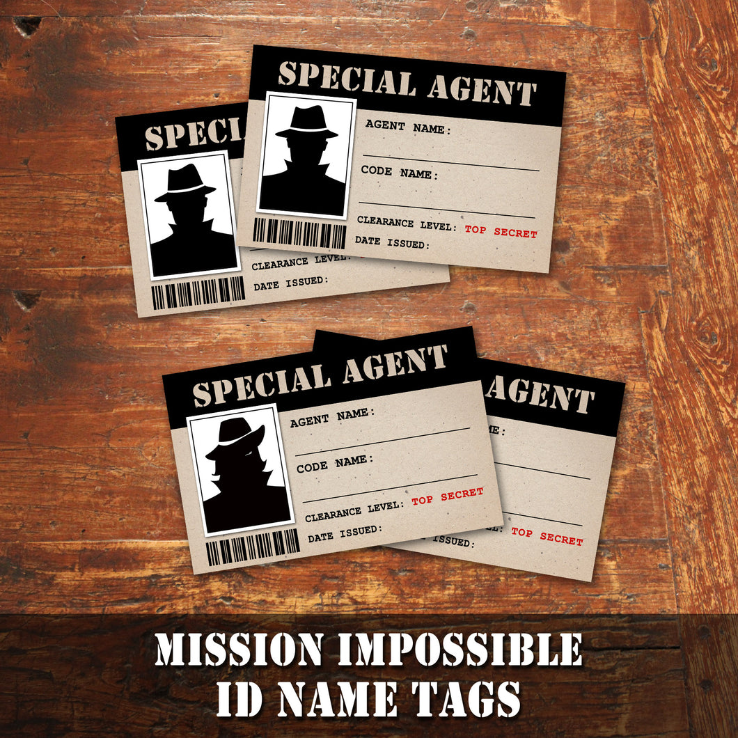 MISSION IMPOSSIBLE - SPECIAL AGENT Name Tags - Theme Party - Digital file -Instant Download-