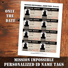 MISSION IMPOSSIBLE - SPECIAL AGENT PERSONALIZED Name Tags - Theme party, Digital file