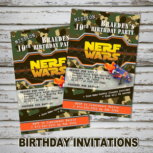 DART GUN WARS Invitation – Collection #1 -Digital file, Dart guns party
