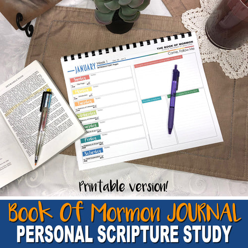 BOOK OF MORMON STUDY JOURNAL - PRINTABLE - Scripture Study Journal -DIGITAL FILE