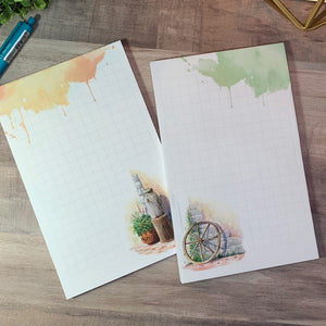 WATERCOLOR ARTWORK NOTEPAD - Old Wheel Watercolor - Large Notepad for desk -Watercolor Notepad - Stationary Gifts