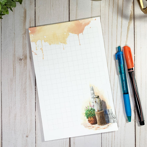 WATERCOLOR ARTWORK NOTEPAD - Old Milk Jar Watercolor - Large Notepad for desk -Watercolor Notepad - Stationary Gifts