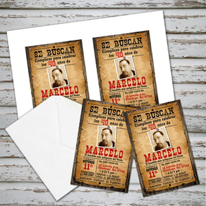 OESTE - COWBOY  BIRTHDAY INVITATION - Fiesta VAQUERA en Espanol – Digital file