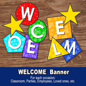 WELCOME BANNER – Basic Shapes, colorful - Digital file - Instant Download-