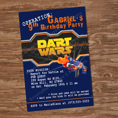DART GUN WARS Invitation – Collection #2 -Digital file, Dart guns party