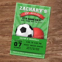 SOCCER AND DODGEBALL - Birthday Invitation - Soccer party – Digital file