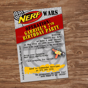 DART GUN WARS Invitation – Collection #3 - Digital file, Dart guns party