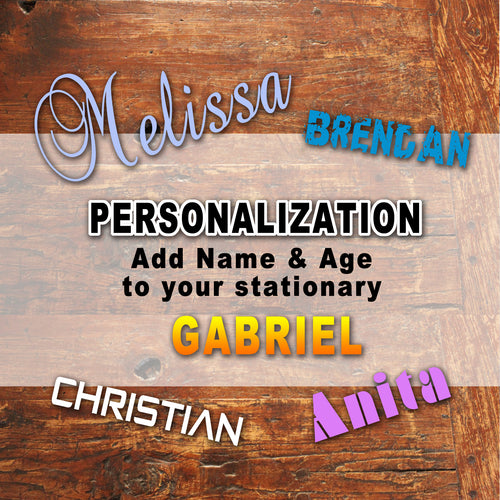 PERSONALIZED ITEMS - ADD ON - Add Name and/or Age to your Party Items or Stationary