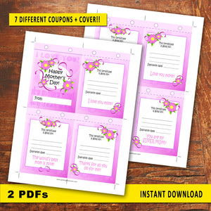 MOTHER'S DAY Coupons - DIY Gift for Mom! - Instant Download