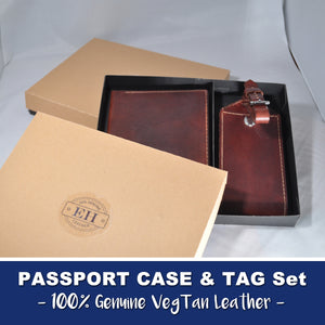 PASSPORT HOLDER & LUGGAGE TAG SET - VEGTAN LEATHER - Handmade in USA - 100% Leather