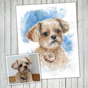 Pet Portrait Custom Watercolor painting - Original Painting, Memorial Art, Custom Dog Portrait gift idea