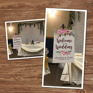 WEDDING WELCOME POSTER - Watercolor Flowers - Different sizes - Digital file