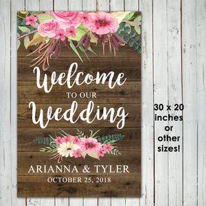 WEDDING WELCOME POSTER- Watercolor Flowers - Different sizes - Digital file