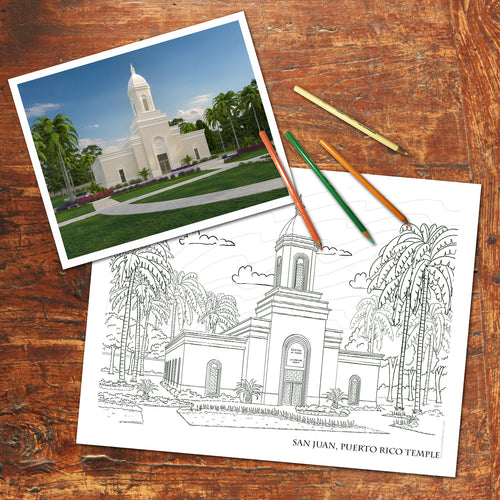LDS PUERTO RICO TEMPLE - FREE Coloring Page - Digital download